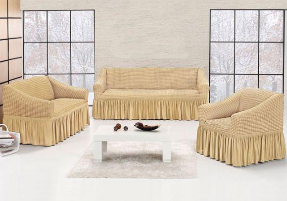 Чехол на трехместный диван + два кресла